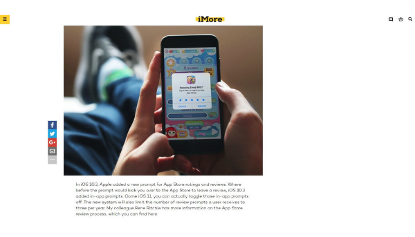 Emoji Blitz pop-up prompt users to rate the app while the user plays the game (Source: iMore)