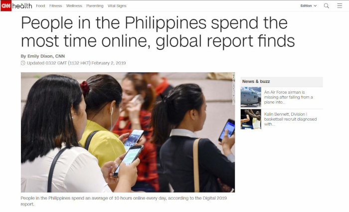 News about internet usage in the Philippines (Source: CNN)